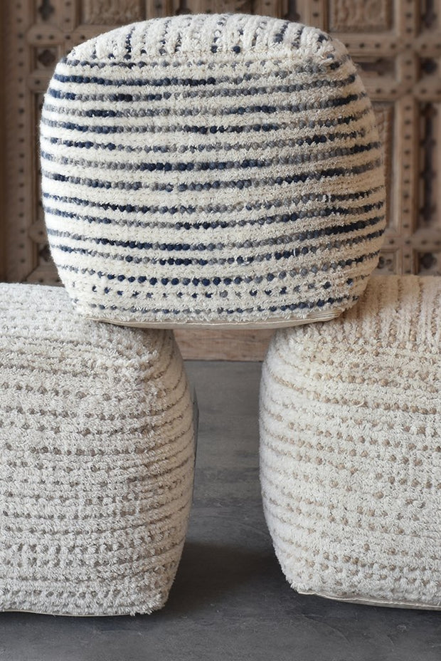 amorica wool pouf in grey color
