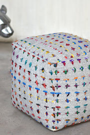 banyard wool pouf in grey and multi color