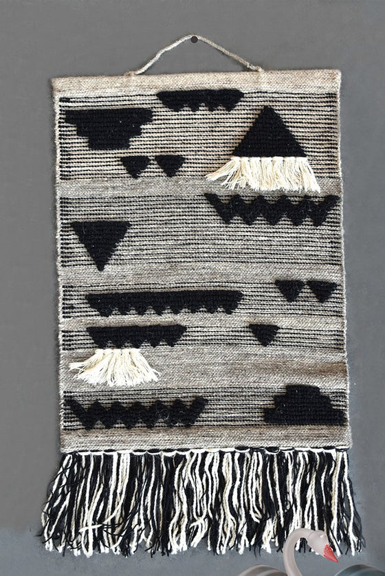 batavia wool wall décor in charcoal and ivory