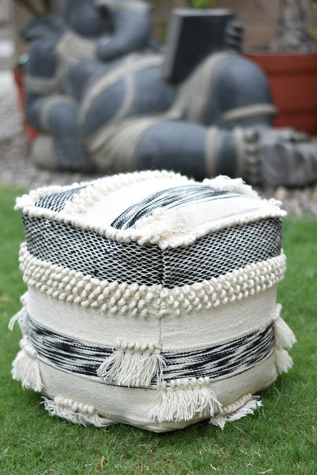 beardell wool pouf in charcoal and ivory color