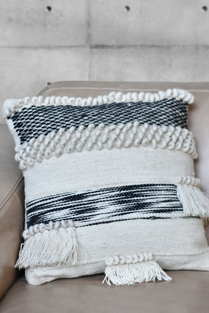 beardell wool pillow in charcoal and ivory color