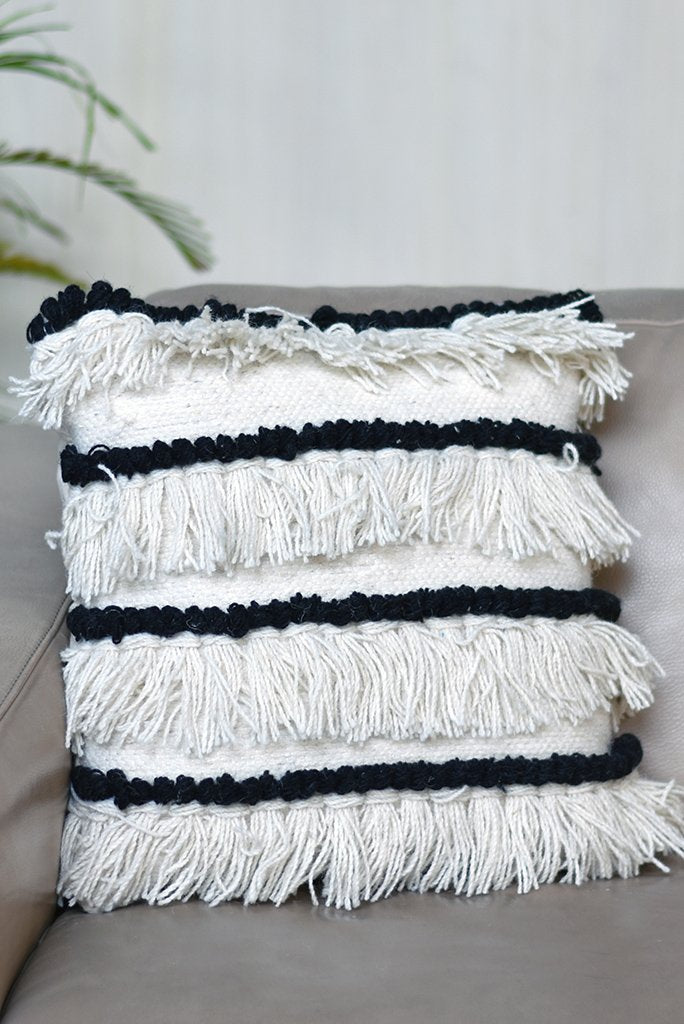 beeton wool pillow in charcoal and ivory color