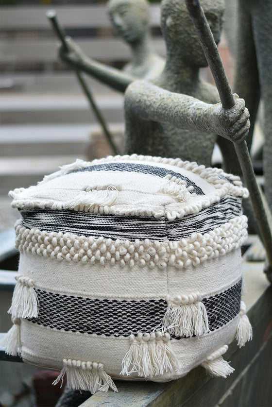 bendon wool pouf in charcoal and ivory color