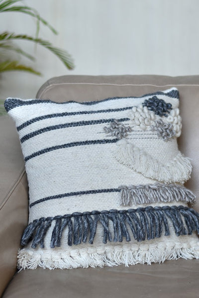 benett wool pillow in charcoal and ivory  color