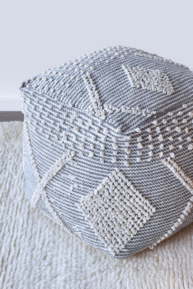 brinket PET pouf in grey and ivory color