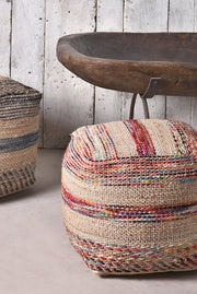 caiman wool pouf in blue and natural color