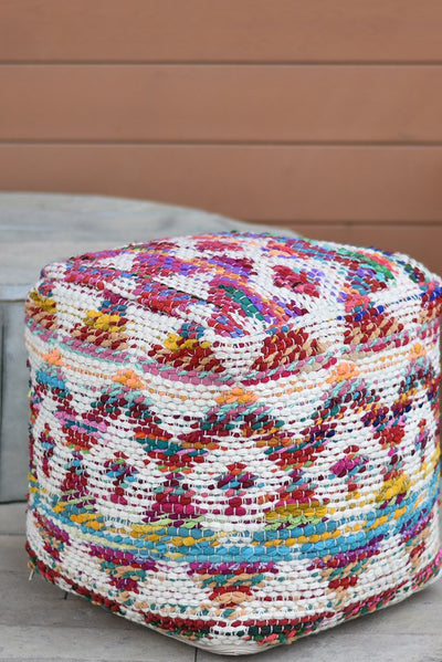 colfax wool pouf in multi and ivory color