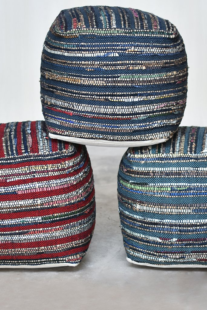 darlan hemp pouf in red and multi color