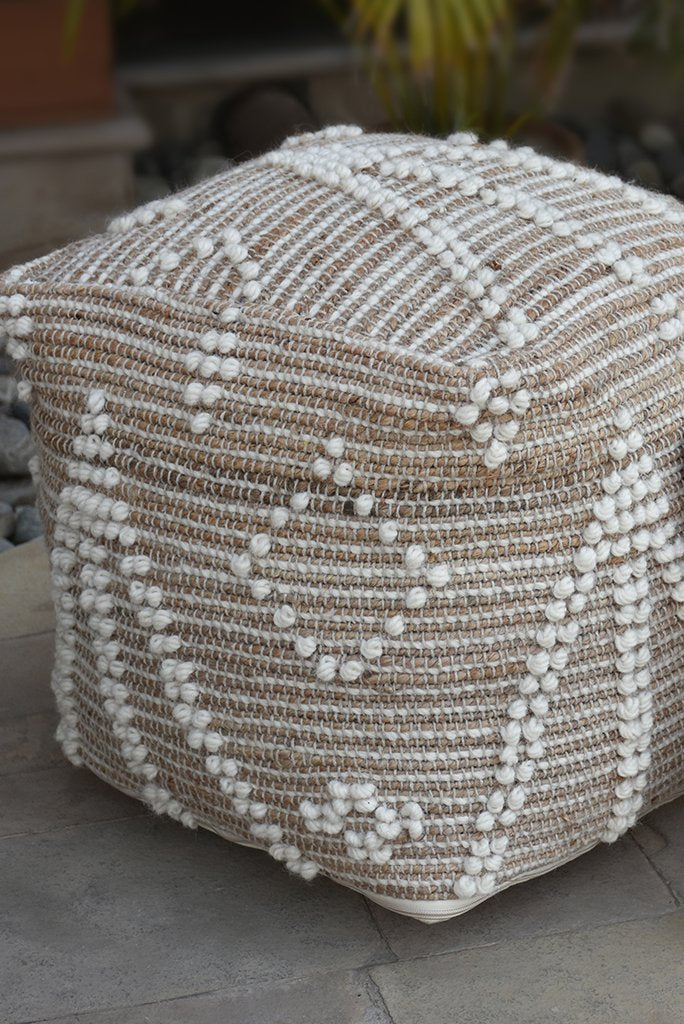 delans hemp pouf in natural and ivory color