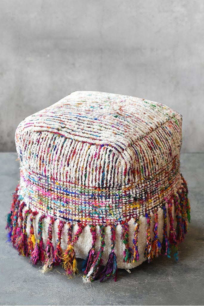 galway cotton pouf in multi and ivory color