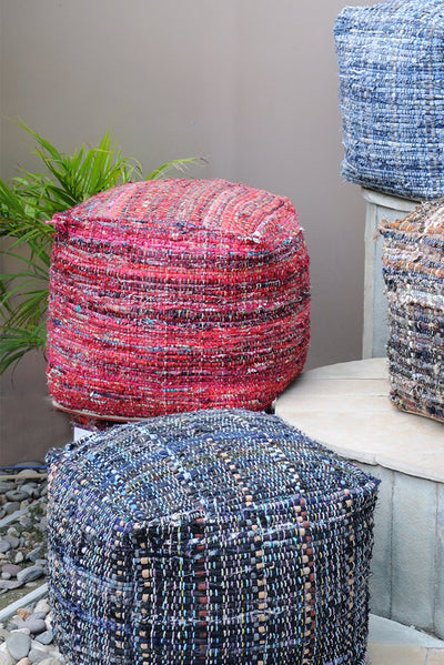 harris recycled pouf in grey and blue color