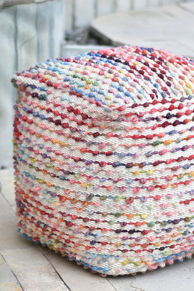 honora wool pouf in multi color