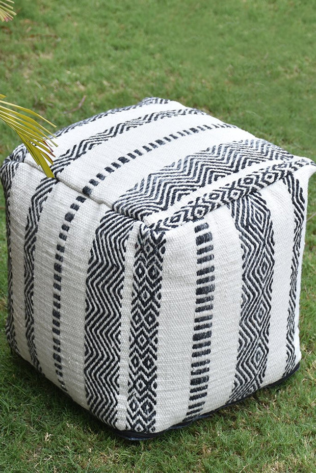 jonas PET pouf in charcoal and ivory color
