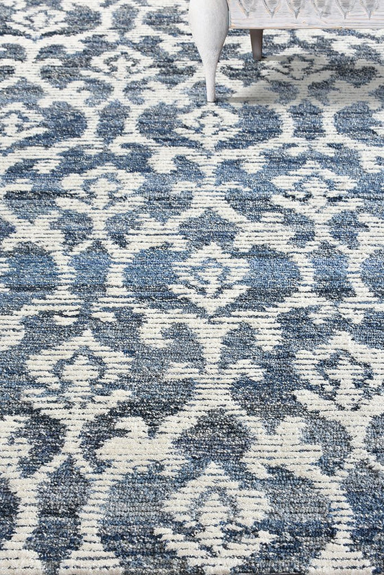 krios wool rug in blue and ivory color