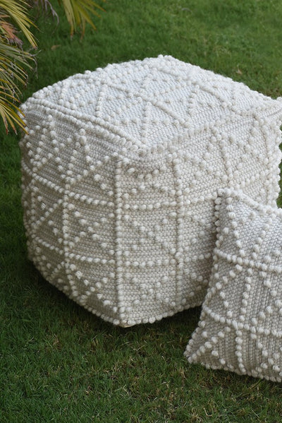 leroy wool pouf in ivory color