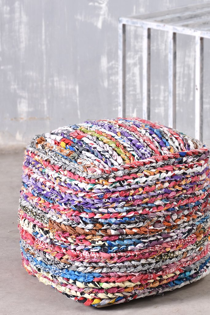 mila recycled pouf in multi color