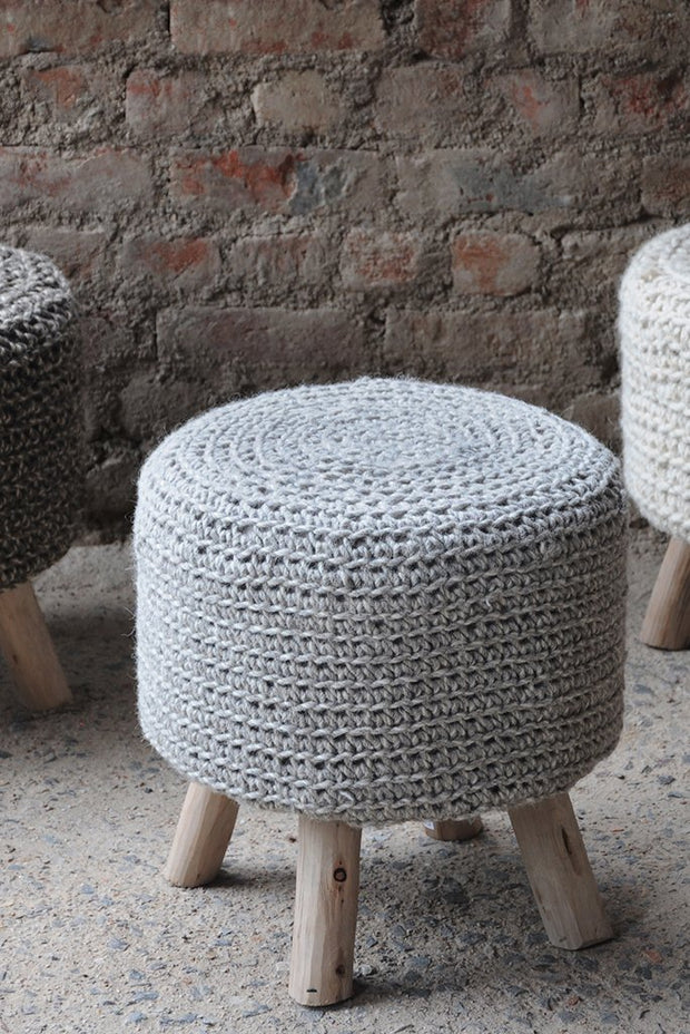 montana wool  stool in ivory color