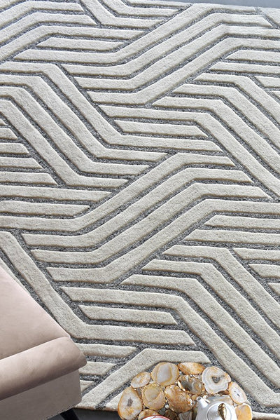 montoya wool rug in grey and ivory color