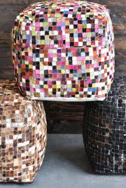 mosaic hide pouf in medium brown color