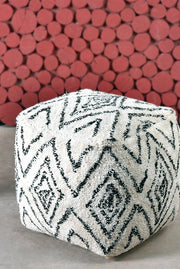 noah cotton pouf in charcoal and grey color