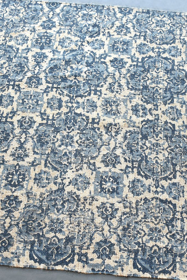norena hemp rug in blue and ivory color