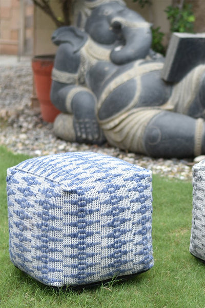 osbert PET pouf in blue and ivory color