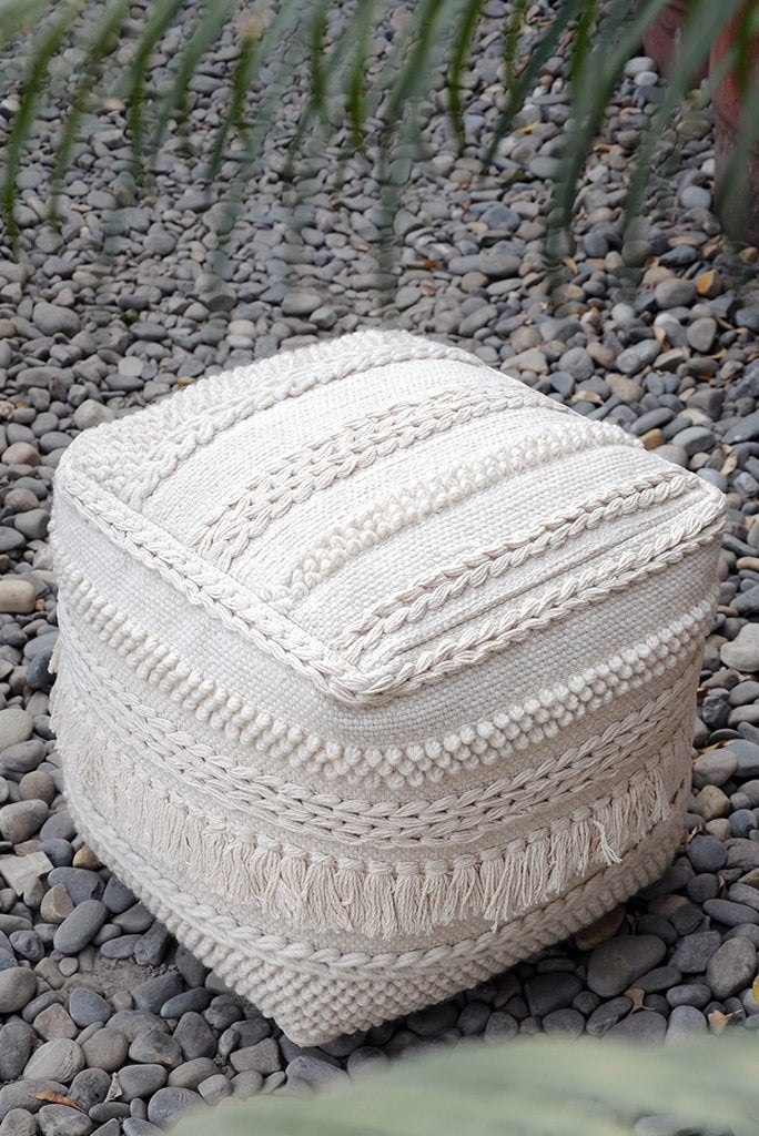 pamir wool pouf in ivory color