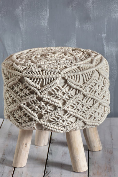 rainef cotton stool in ivory color