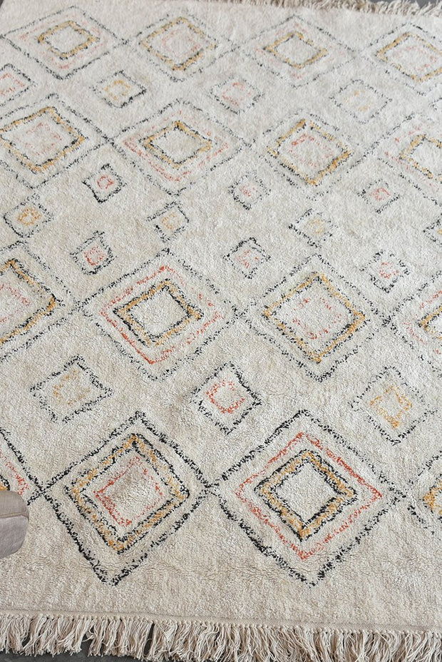 salford cotton rug in multi and ivory color