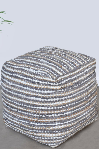 sevan hemp pouf in grey, ivory and natural color