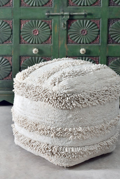 tansy cotton pouf in  ivory color