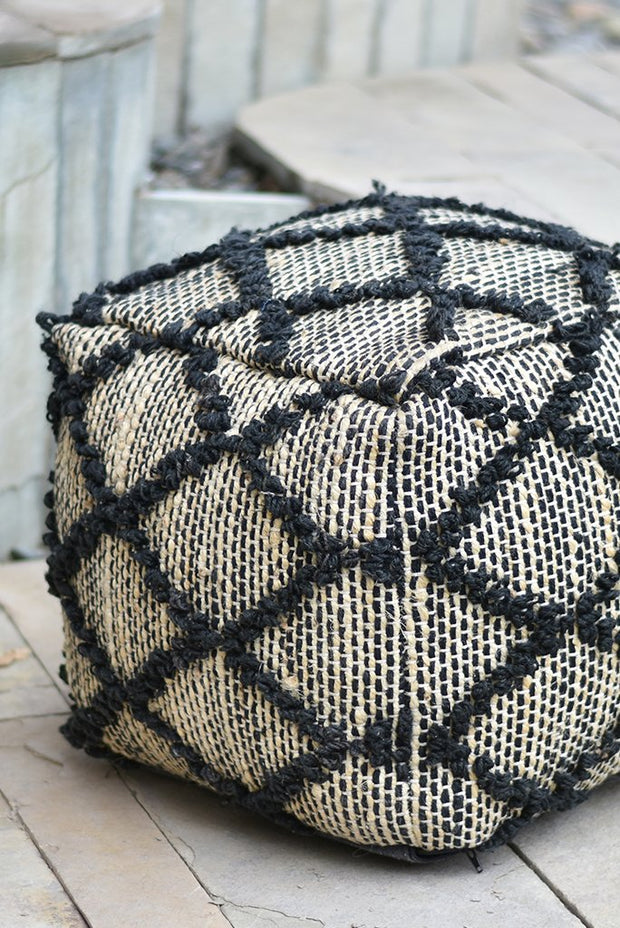 tomas hemp pouf in charcoal color