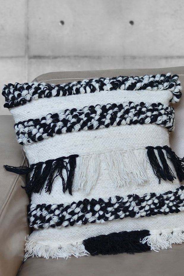 tweedy wool pillow in charcoal and ivory color