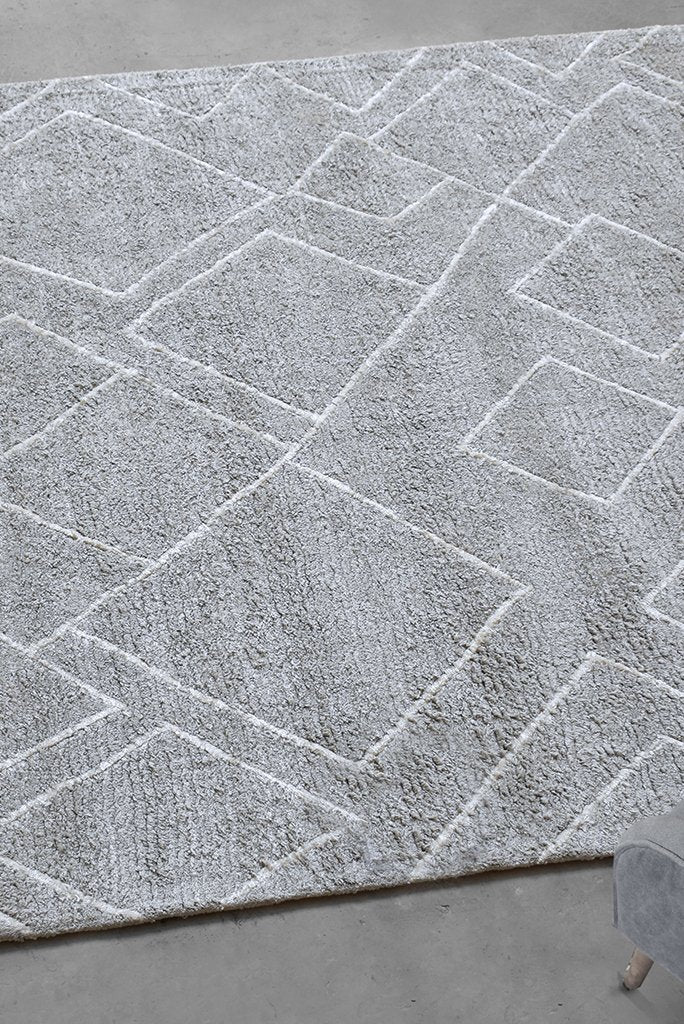 wincle cotton rug in grey and ivory color