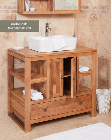Solid Oak Two Door Single Square Sink Unit