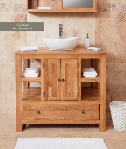 Solid Oak Two Door Single Sink Unit (Round)