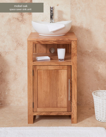 Solid Oak Single Door Sink Unit (Round)