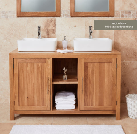 Solid Oak Dual Square Sink Unit with Two Doors