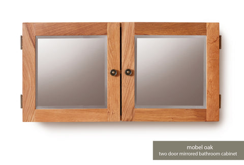 Solid Oak Mirrored Double Door Cabinet