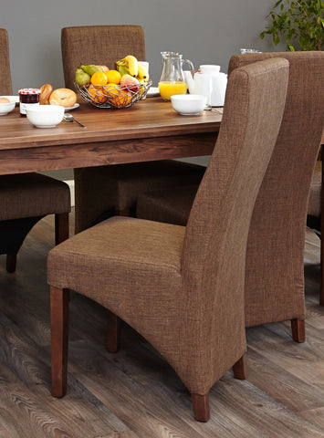 Shiro Walnut Full Back Upholstered Dining Chair - Hazelnut Shade (Pack of Two)