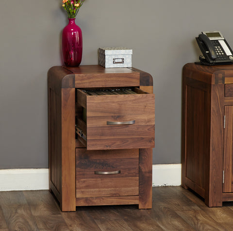 Shiro Walnut Two Drawer Filing Cabinet