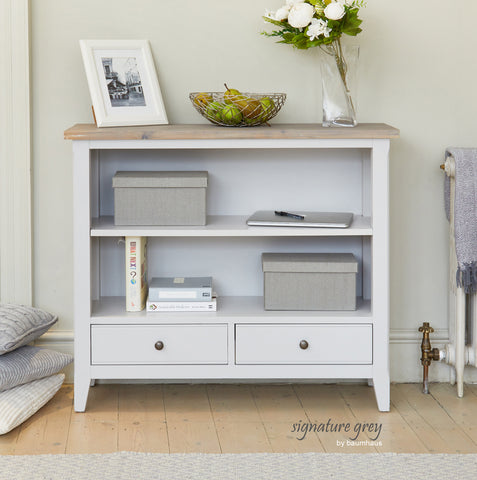 Signature Grey Low Bookcase