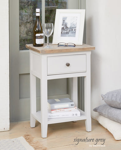 Signature Grey One-Drawer Lamp Table