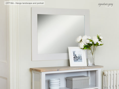Signature Grey Over-mantle Mirror (Hangs Landscape & Portrait)
