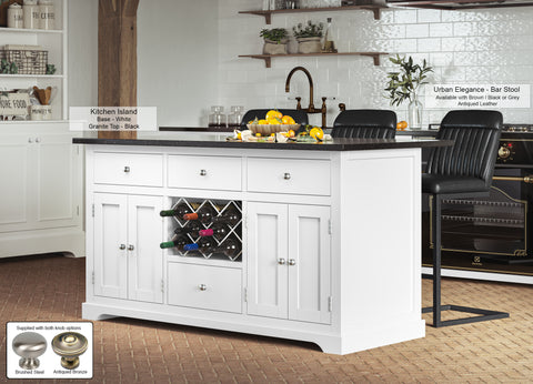 White Kitchen Island With Black Granite Worktop