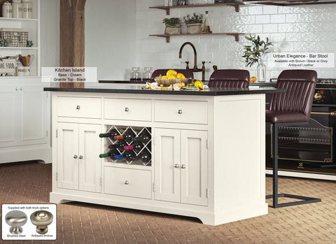 Cream Kitchen Island With Black Granite Worktop