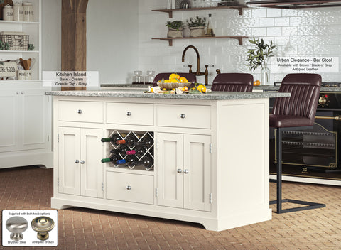 Cream Kitchen Island With Grey Granite Worktop
