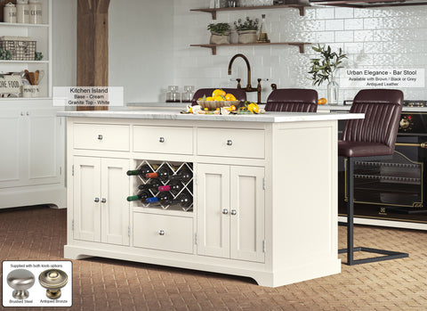 Cream Kitchen Island With White Granite Worktop