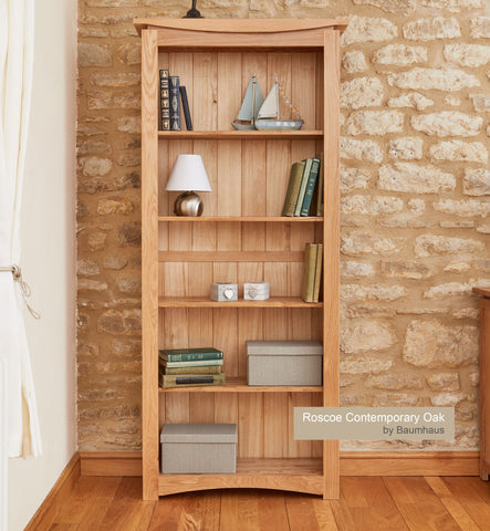 Roscoe Contemporary Oak Large Bookcase
