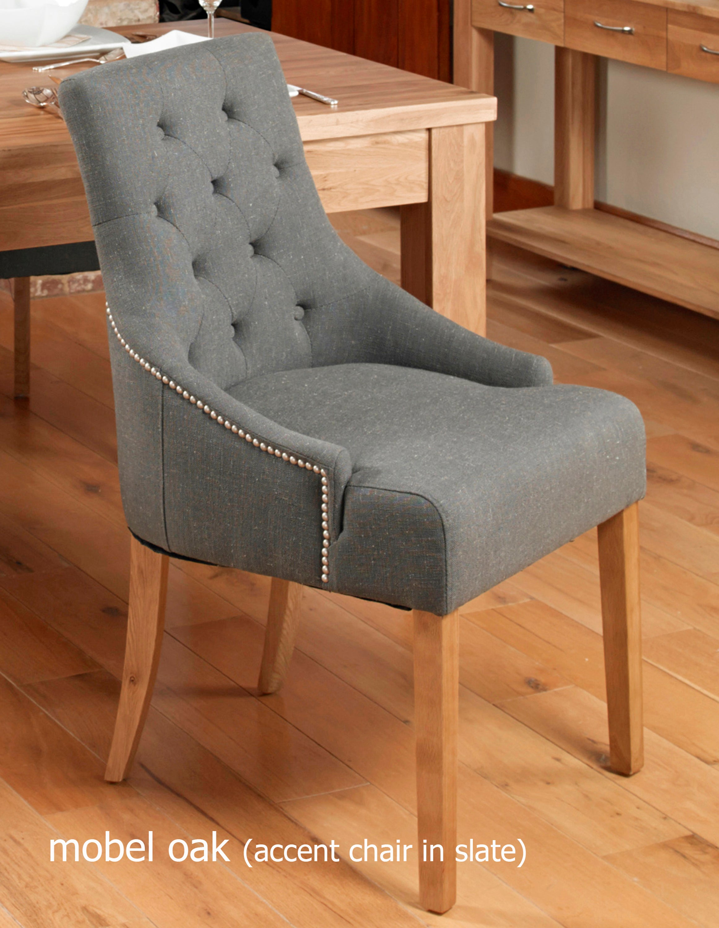 mobel oak accent upholstered dining chair slate pack of two